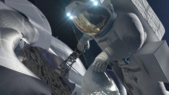Астронавт получает выборку из астероида в концепции этого художника. Фото: НАСА