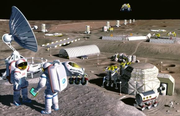 Строительство лунной основы могло бы быть легче, если астронавты могли бы получить местные материалы для строительства и жизнеобеспечения в целом. Кредит: NASA/Pat Rawlings