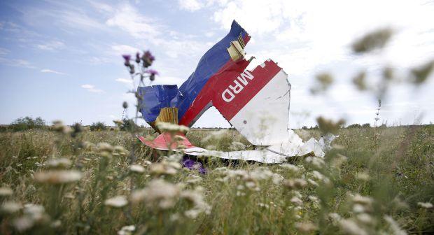 Часть обломков Malaysia Airlines Flight MH17 видно на его месте крушения, недалеко от деревни Hrabove Донецкой области, 20 июля 2014 года