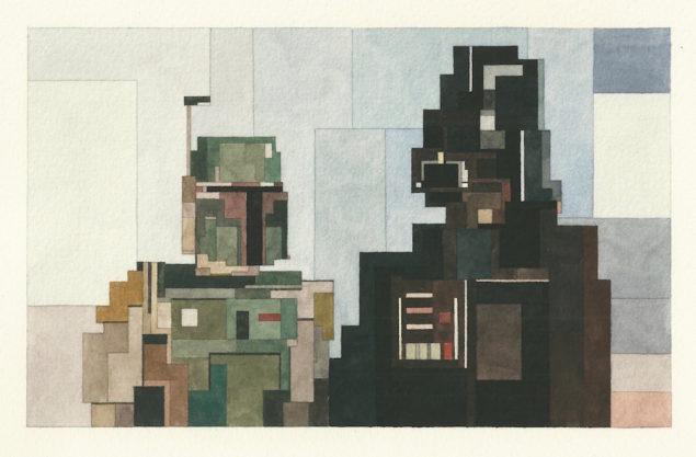 Боба Фетт і Дарт Вейдер, зображення з виставки Білі Стіни Сан-Франциско