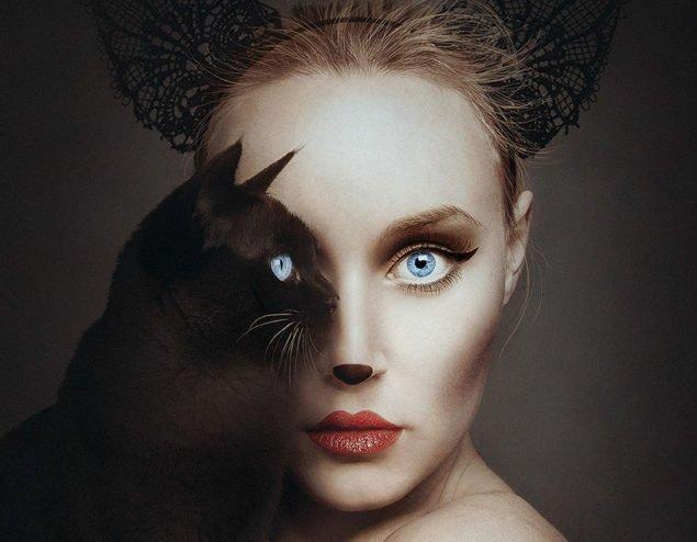 Риси людини + тварини в одному автопортреті