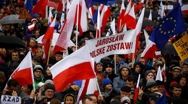 Poles protest against new government policies