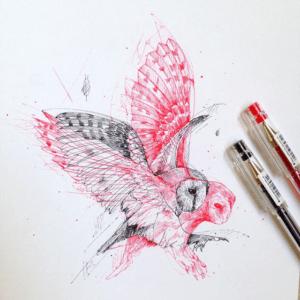 Ручка, чорнила і малюнки дерев, що перетворюються на тварин