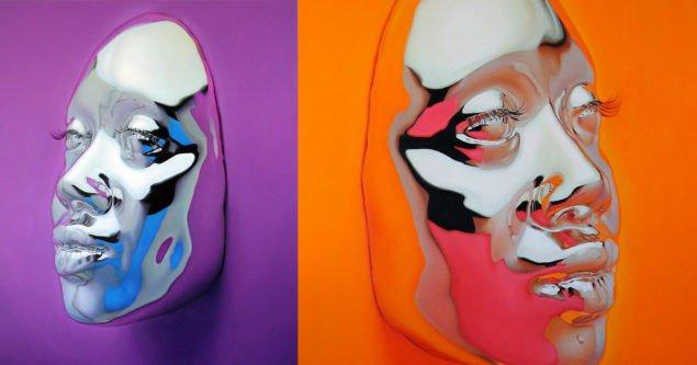 Гіперреалістичні масляні картини яскравих хромованих масок Кіп Омолейд