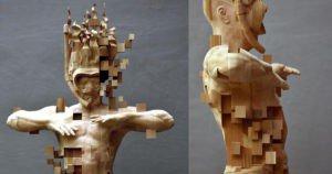 Пікселізований дерев'яний водолаз скульптора Хсу Тан Хана