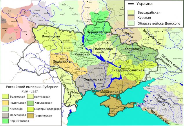 Українські губернії Російської імперії напередодні Першої світової війни.